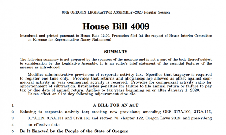Oregon Lawmakers Consider Changes to the Corporate Activity Tax